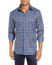 Bugatchi   Blue Trim Fit Ombre Plaid Sport Shirt for Men   Lyst
