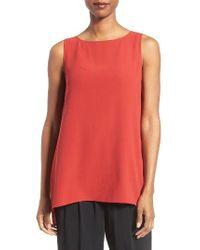 Eileen Fisher | Red Long Bateau Neck Silk Shell | Lyst