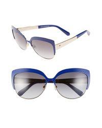 Kate Spade | Blue 'raelyn' 59mm Cat Eye Sunglasses - Lapis | Lyst