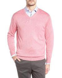 Peter Millar | Brown Silk Blend V-neck Sweater for Men | Lyst