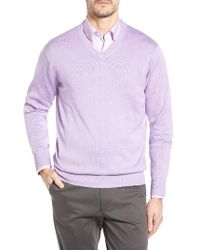 Peter Millar | Brown Silk Blend V-neck Sweater for Men | Lyst