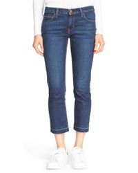 Current/Elliott | Green 'the Cropped Straight' Ankle Jeans | Lyst