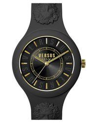 Versus  - Black 'fire Island' Round Rubber Strap Watch - Lyst
