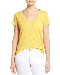 Caslon   Yellow Caslon Relaxed Slub Knit U-neck Tee   Lyst