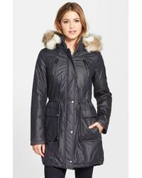 Laundry by Shelli Segal - Blue Faux Fur Trim Parka - Lyst
