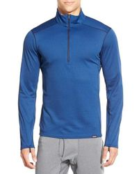 Patagonia - Blue 'capilene Midweight' Base Layer Half Zip T-shirt for Men - Lyst