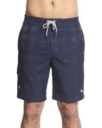 Tommy Bahama Blue 'baja Plaid' Board Shorts for men