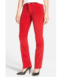 NYDJ | Red 'marilyn' Stretch Straight Leg Corduroy Pants | Lyst