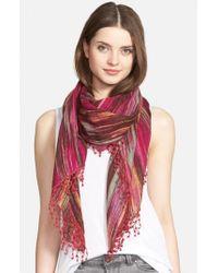 La Fiorentina | Pink Ikat Print Wool Scarf | Lyst