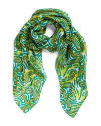 La Fiorentina | Green Swirl Pattern Silk Scarf | Lyst