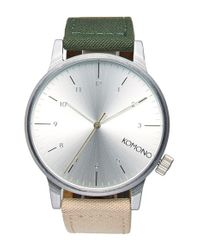 Komono - Metallic 'winston Heritage' Multitoned Canvas Strap Watch for Men - Lyst