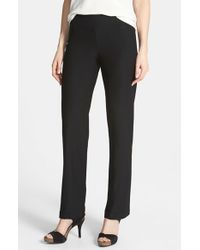 Eileen Fisher | Black Straight Leg Crepe Pants | Lyst