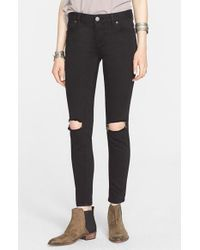 Free People - Black Destroyed Jeans - Lyst