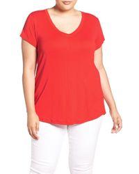 Sejour | Red Short Sleeve V-neck Tee | Lyst