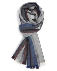 Hickey Freeman - Blue Stripe Wool Scarf for Men - Lyst