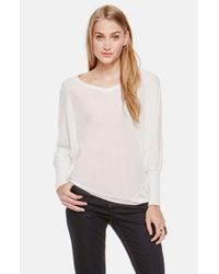 Two By Vince Camuto | White 'saturday' Mixed Media V-neck Top | Lyst