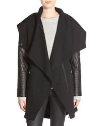 Vince Camuto | Black Faux Leather Sleeve Asymmetrical Anorak | Lyst
