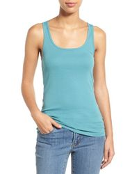 Caslon - Green Rib Knit Cotton Tank - Lyst