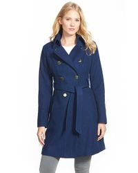 Guess - Blue Wool Blend Trench Coat - Lyst