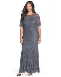 Xscape Gray Short Sleeve Shimmer Lace Gown
