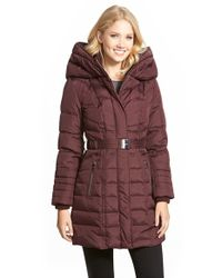 Kensie Purple Belted Hooded Down & Feather Fill Coat