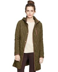 Lauren by Ralph Lauren | Green Faux Leather Trim Quilted Coat | Lyst