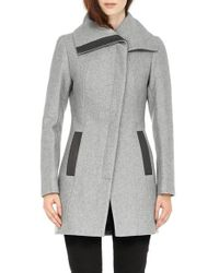 SOIA & KYO | Gray 'jana' Asymmetrical Wool Blend Coat | Lyst