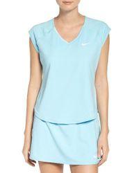 Nike | Blue 'pure' Dri-fit Tennis Top | Lyst