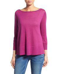 Halogen - Purple Button Back Boatneck Sweater - Lyst