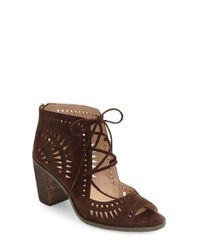 Vince Camuto | Red 'tarita' Cutout Lace-up Sandal | Lyst