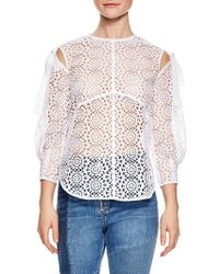 Sandro - White Blanc Sheer Lace Top - Lyst