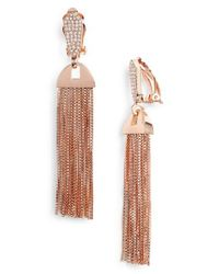 Vince Camuto Metallic Pave Tassel Earrings