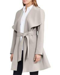 Lauren by Ralph Lauren - Multicolor Belted Drape Front Coat - Lyst