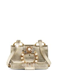 Miu Miu Multicolor Madras Crystal Embellished Leather Shoulder Bag