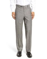 Berle - Gray Flat Front Stretch Plaid Wool Trousers for Men - Lyst