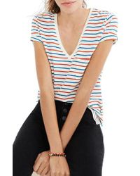 Madewell - Blue Whisper Cotton Stripe V-neck Tee - Lyst