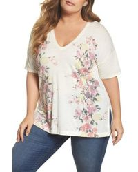 Lucky Brand - Multicolor V-neck Floral Tee - Lyst