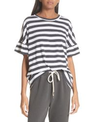 The Great - Multicolor The Ruffle Stripe Tee - Lyst