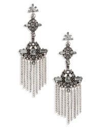 TOPSHOP - Metallic Punk Tassel Stone Drop Earrings - Lyst