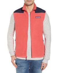 Vineyard Vines - Red 'shep' Fleece Zip Vest for Men - Lyst
