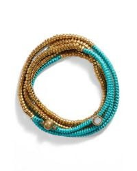 Serefina - Blue Beaded Wrap Bracelet - Lyst
