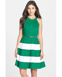 Eliza J | Green Stripe Sateen Fit & Flare Dress | Lyst