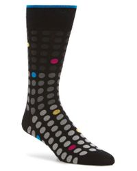 Bugatchi - Black Polka Dot Crew Socks for Men - Lyst