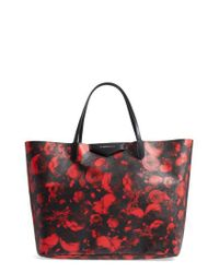 d1de3c639a Lyst - Givenchy Antigona Rose Print Coated Canvas Shopper - in Red