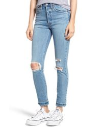 Levi's Blue 501 Ripped Skinny Jeans