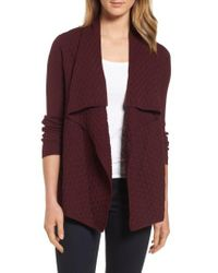 Chaus - Purple Mixed Cotton Knit Cardigan - Lyst