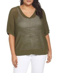 Sejour - Green Open Stitch Cotton Sweater - Lyst