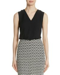 Yigal Azrouël - Black Plunge Back Silk Top - Lyst