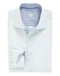 Bugatchi   Blue Trim Fit Check Dress Shirt for Men   Lyst