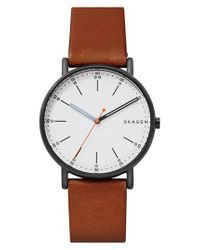 Skagen - Brown Signatur Leather Strap Watch for Men - Lyst